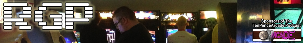 Retro Games Party Header Picture - wide angle shot of arcade with visitors playing games