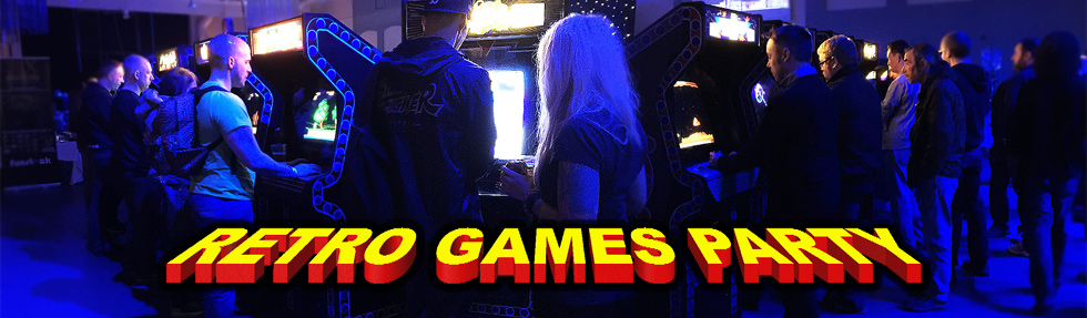 Retro Games Party Website Header Picture - wide angle shot of an event arcade setup with visitors playing games