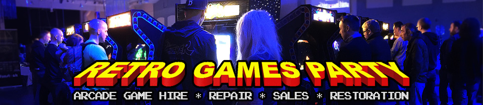 Retro Games Party Website - we provide hire, repair, sales and restoration services.  Header Picture - wide angle shot of an event arcade setup with visitors playing games